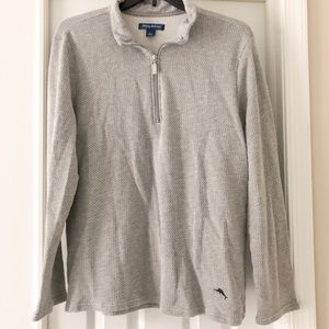 Tommy Bahama Gray Textured 1/4 Zip Pullover L